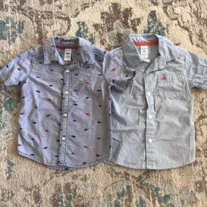 Carter's dinosaur striped button down shirts